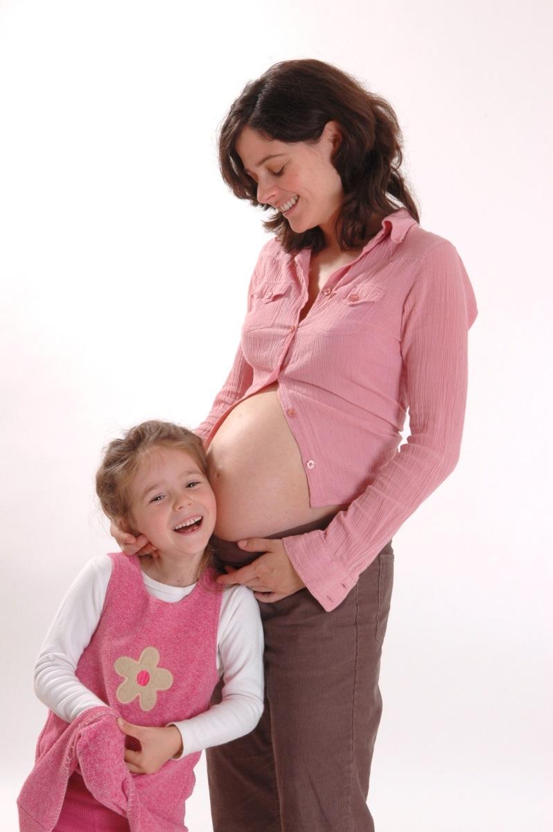 Schwangerschaft Mutter mit Tochter